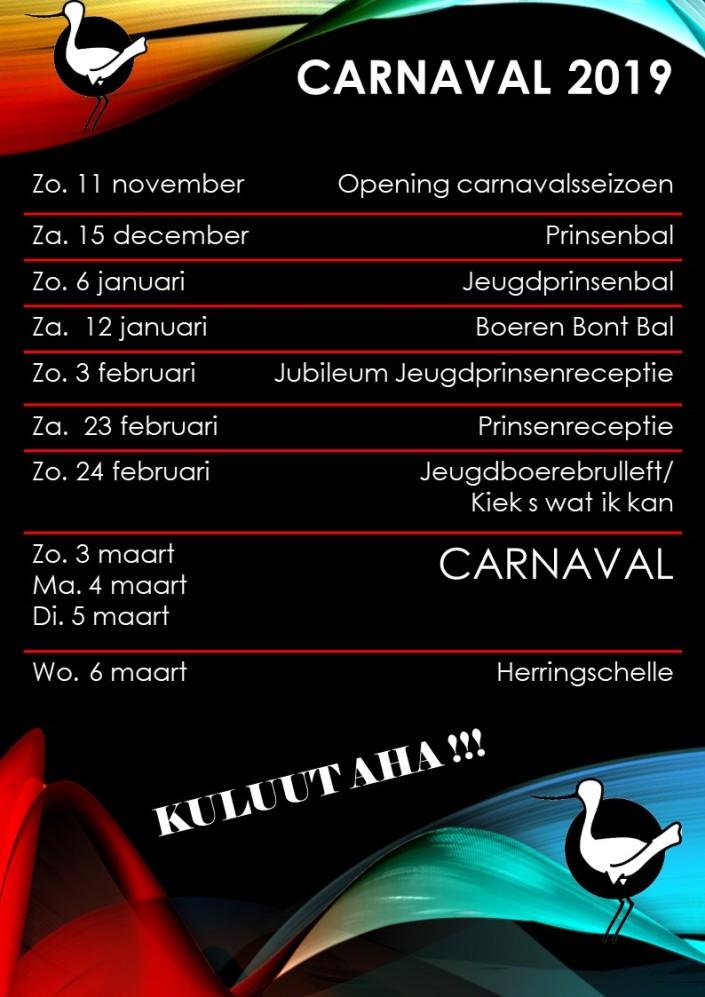 Programma carnaval 2019.